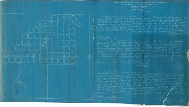 Missouri, Kansas & Oklahoma Railroad Company, Plat Show Land Required for Stock Yard at Dewey, I.T.
