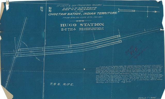 St. Louis and San Francisco Railway, Depot Reserve in the Choctaw Nation, Indian Territory, From Station 1350+23 4/ to Station 1390+23 4/, Hugo Station, 24thA Reservation