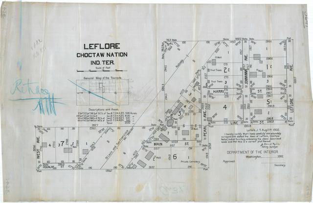 Survey Map of Leflore Choctaw Nation, Indian Territory, Along the St Louis and San Francisco Railway