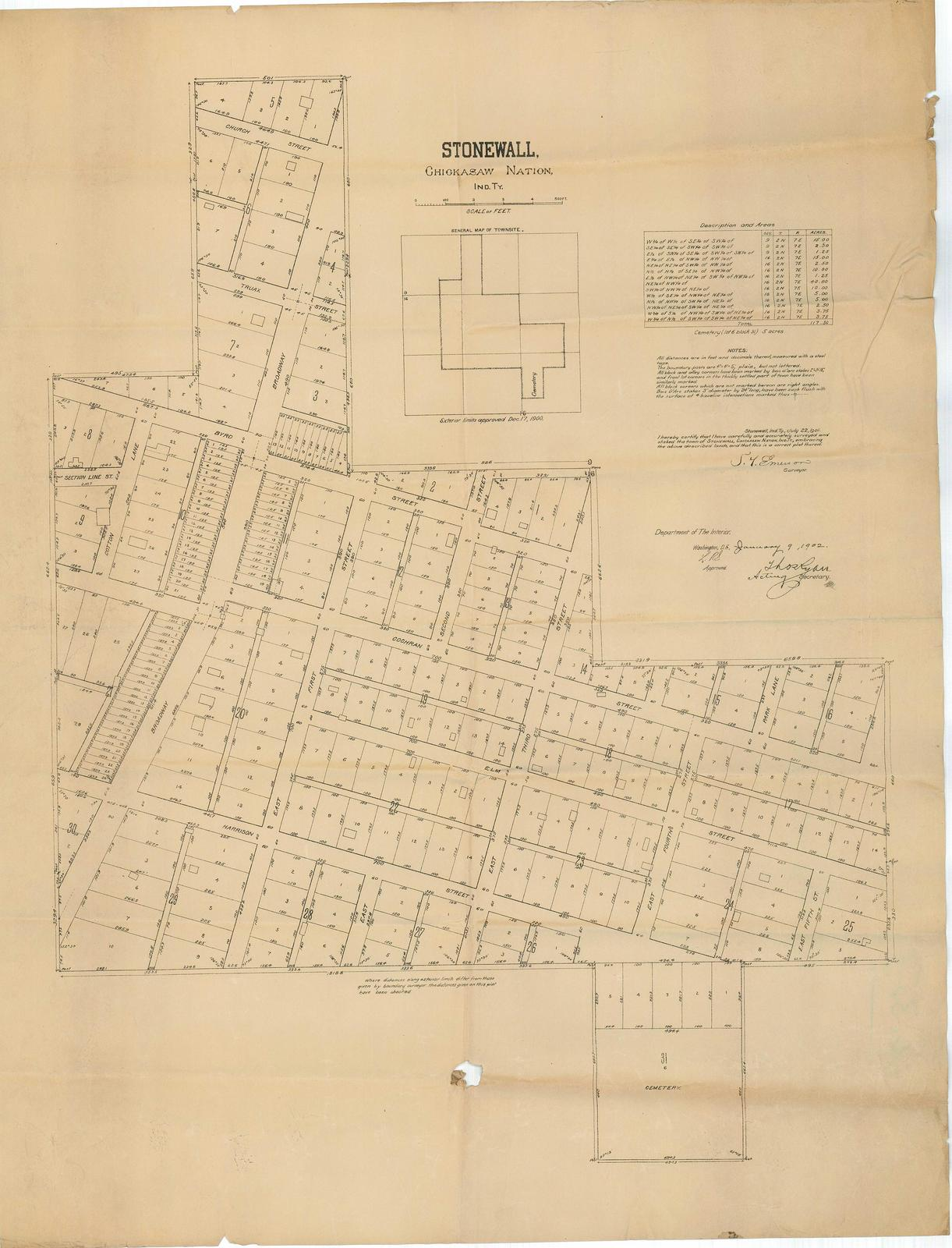 Survey Map Of The Town Of Stonewall Chickasaw Nation Indian - Us-indian-territory-map