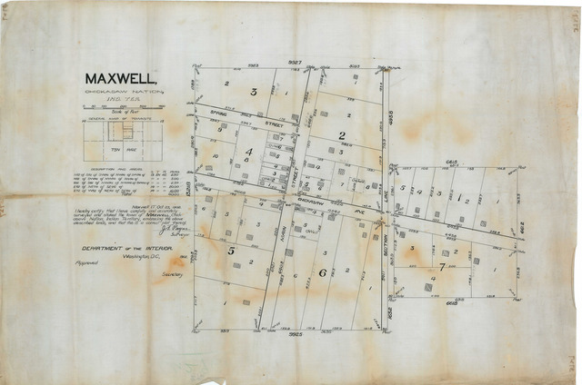 Survey of the town of Maxwell in Chickasaw Nation, Indian Territory