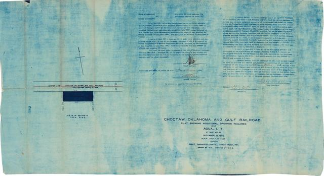 Choctaw Oklahoma & Gulf Railroad, Plat Showing Additional Grounds Required Near Agua, I.T.