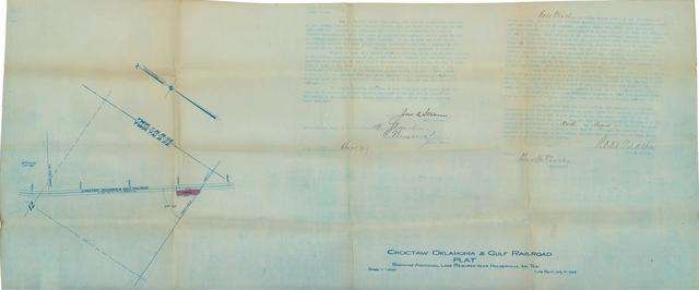 Choctaw Oklahoma & Gulf Railroad, Plat Showing Additional Land Required Near Holdenville, Ind. Ter.