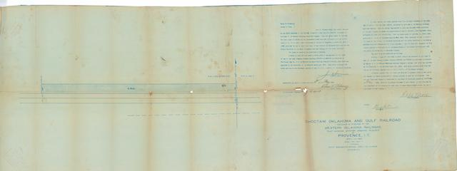 Choctaw Oklahoma and Gulf Railroad Successor by Purchase to the Western Oklahoma Railroad Plat Showing Station Grounds Required at Provence, I.T.