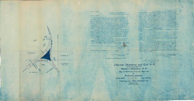 Choctaw Oklahoma and Gulf R.R., Map of Additional Grounds Required at Ardmore Junction