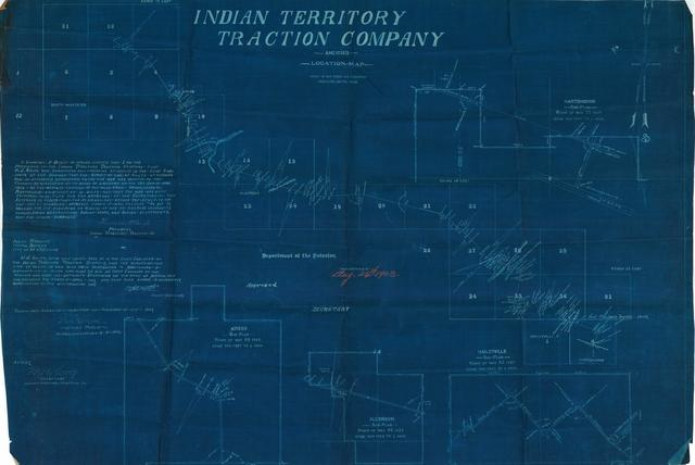 Indian Territory Traction Company, Amended Location Map, Showing Road from McAlester to Hartshorn