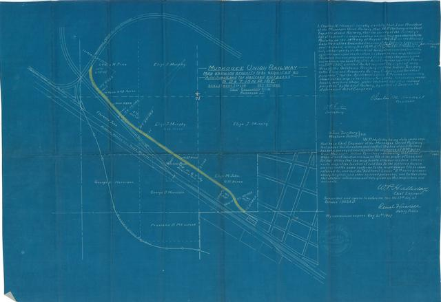 """Muskogee Union Railway Map Showing Property to be Acquired as """"Additional Land for Railroad Purposes"""" S. 24 T. 15 N.R. 18 E."""