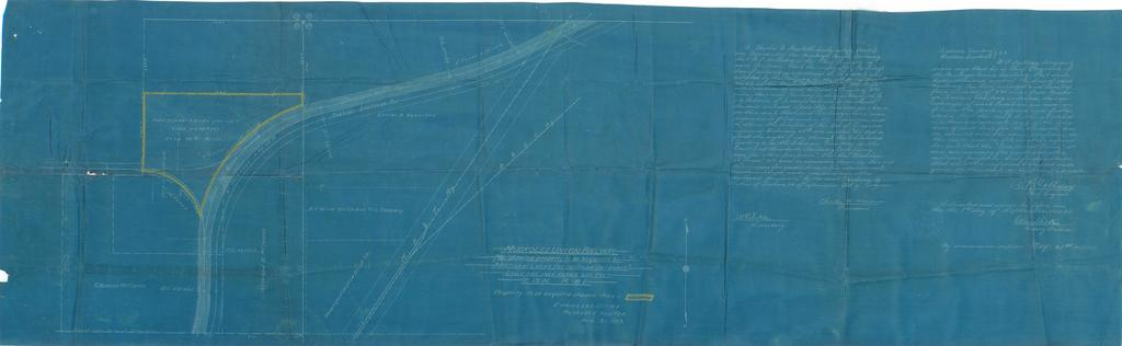 """Muskogee Union Railway. Map Showing Property to be Acquired at """"Additional Lands for Railroad Purposes"""" T. 15 N., R. 18 E."""