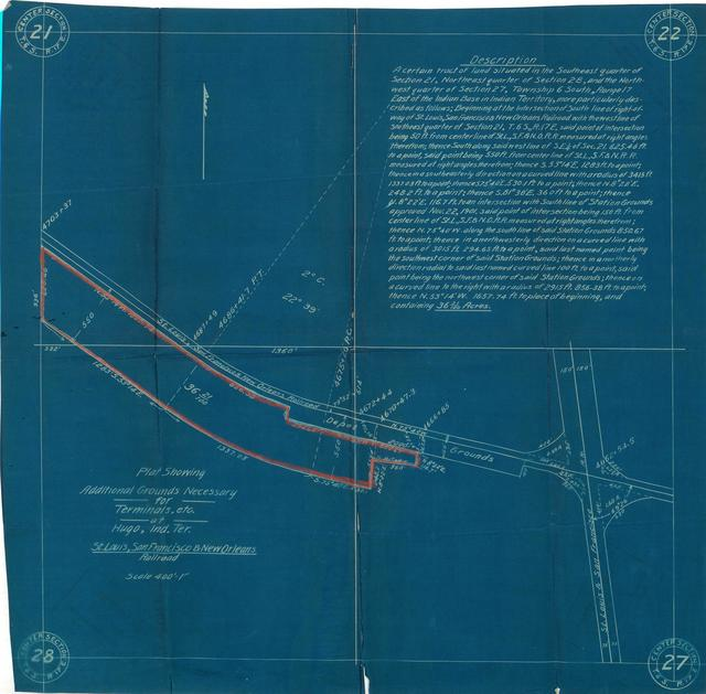 Plat Showing Additional Grounds Necessary for Terminals etc. at Hugo, Indian Territory, St Louis, San Francisco, and New Orleans Railroad