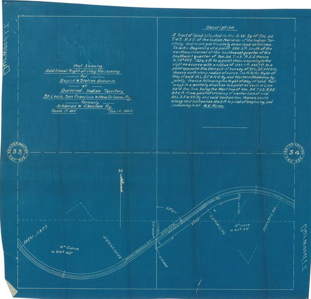 Plat Showing Additional Right-of-Way Necessary for Depot & Station Grounds at Durwood, Indian Territory, St. Louis, San Francisco & New Orleans Railway
