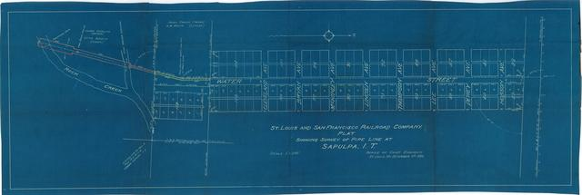 St. Louis and San Francisco Railroad Company. Plat Showing Survey of Pipeline at Sapulpa, I.T.