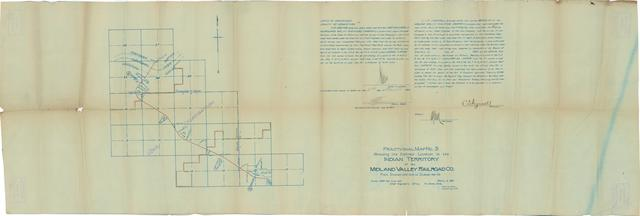 Fractional Map No. 3 Showing the Definite Location in the Indian Territory of the Midland Valley Railroad Co.