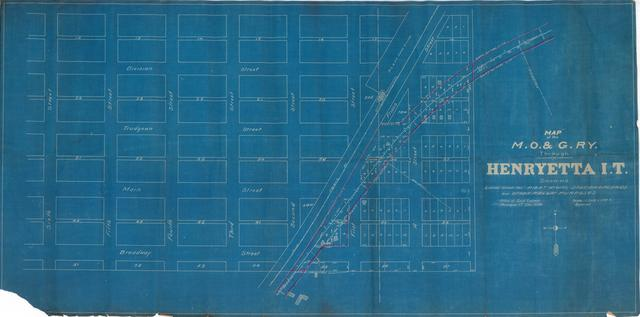 Map of the M.O.G. Ry. Through Henryetta I.T. Showing Lands Used for Right of Way, Station Grounds and Other Railway Purposes