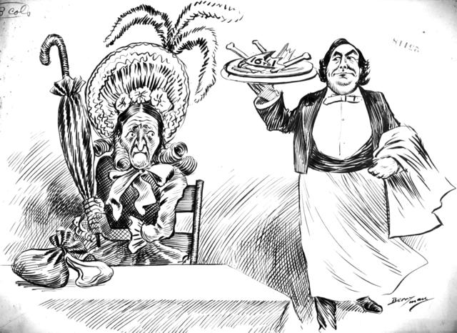 """Miss Democracy: """"Take that away waiter. Warm it over and feed it to the Pops."""""""
