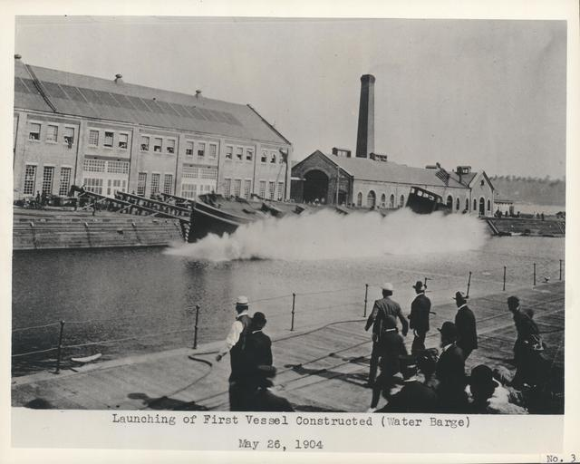 Launching of First Vessel Constructed at Puget Sound Navy Yard