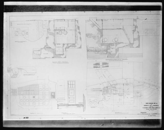 Pump Well General Plan and Details, Dry Dock Number 4 of Granite and Concrete, U.S. Navy Yard, New York, New York
