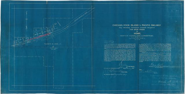 Chicago, Rock Island and Pacific Railway Map Showing Additional Grounds Required for Spur Track at Howe, Choctaw Nation, Indian Territory