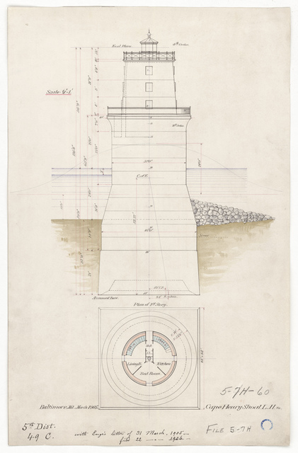 Elevation and First Floor Plan for the Lighthouse at Cape Henry, Virginia
