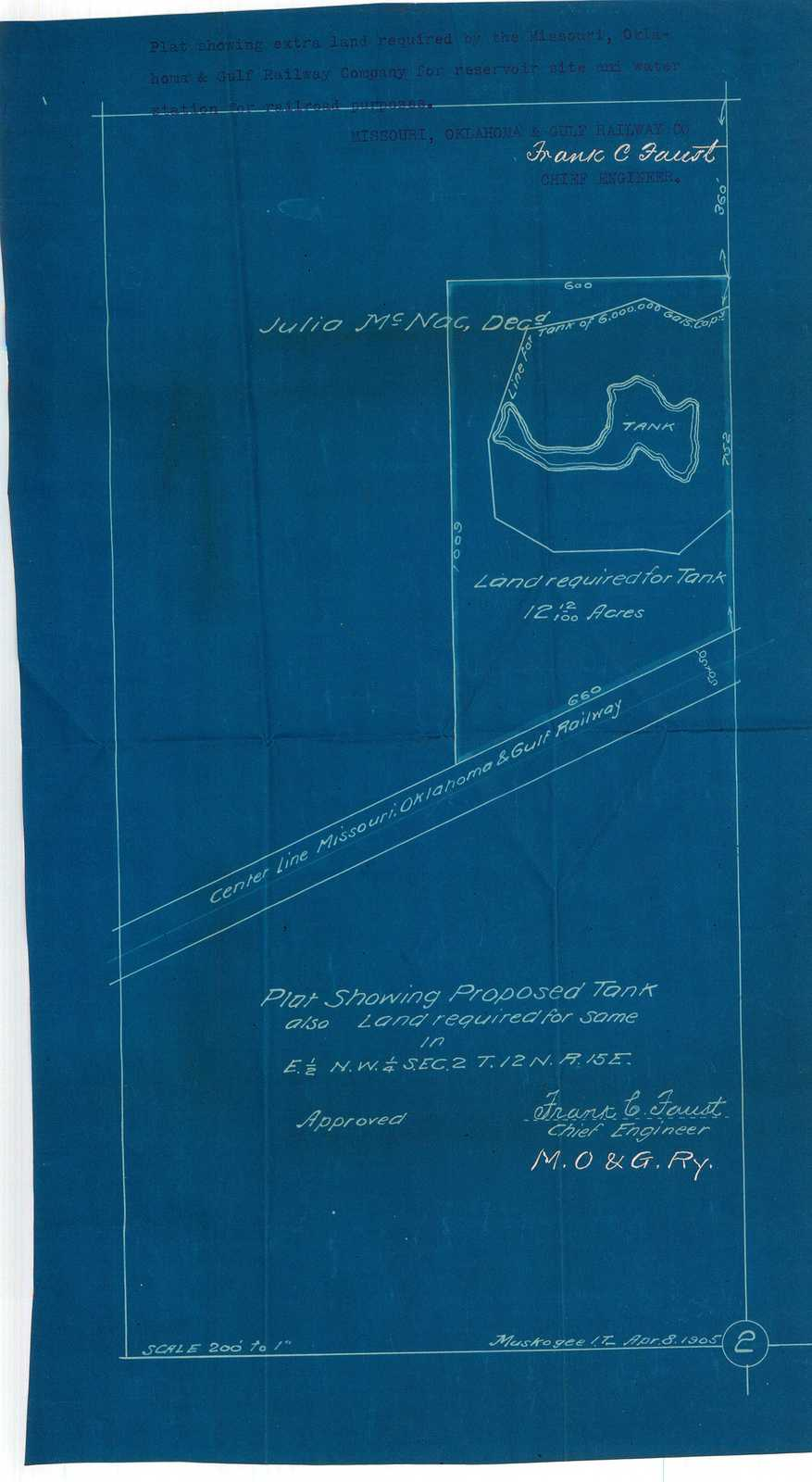 Plat Showing Proposed Tank also Land Required for Same in E 1/2 N.W. 1/4 Sec. 2 T. 12 N. R. 15 E.