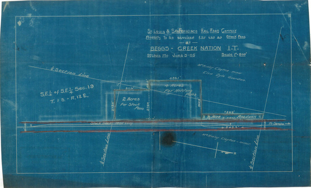 St. Louis & San Francisco Rail Road Company, Property to be Acquired for use as Stock Pens at Beggs, Creek Nation, I.T.