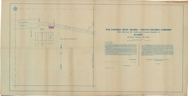The Chicago, Rock Island and Pacific Railway Company, Map Showing the Additional Grounds Required at Stuart, Choctaw Nation, Ind. Terr.