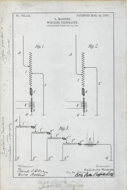Patent Drawing for G. Marconi's Wireless Telegraphy