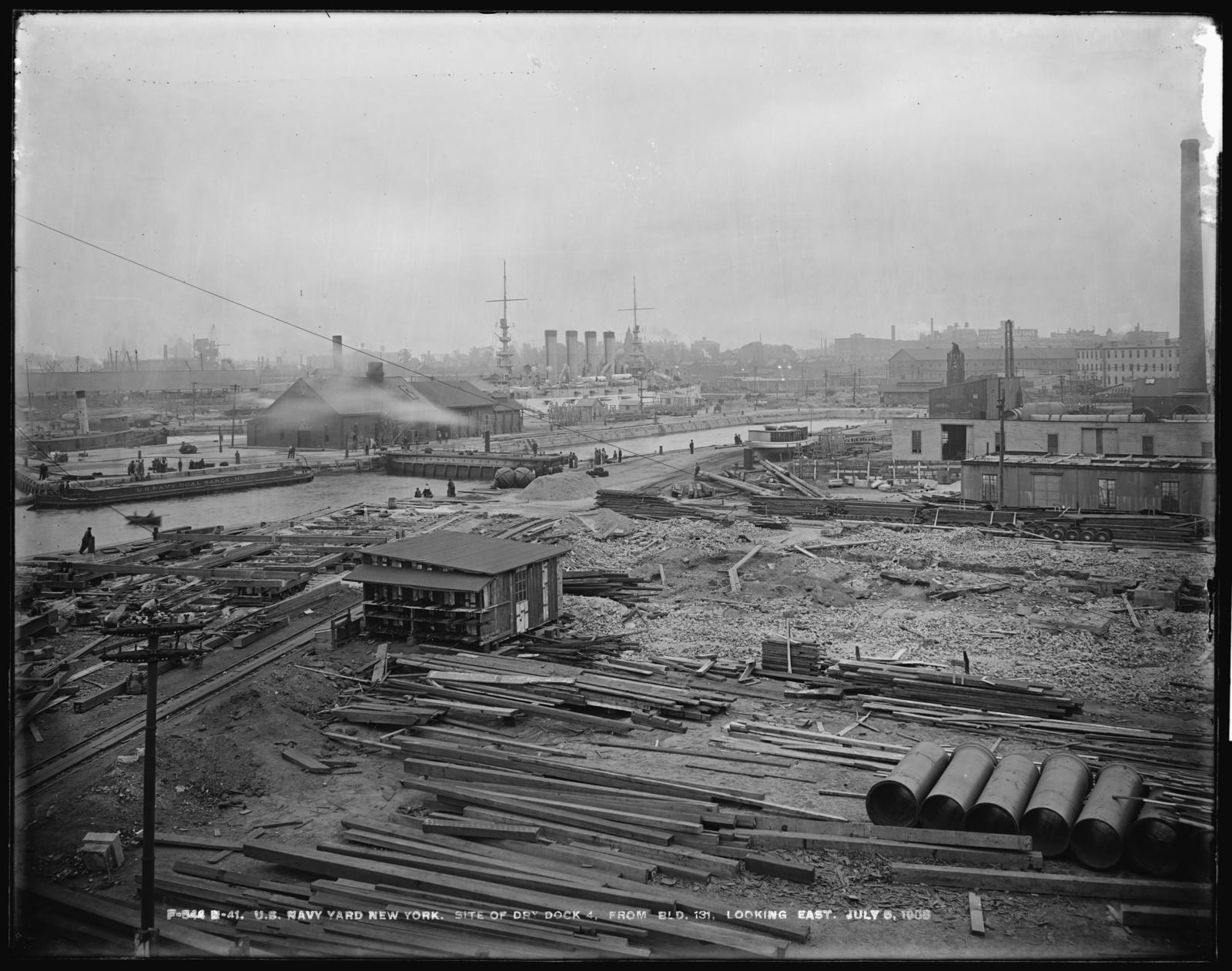 Site of Dry Dock 4, From Building 131, Looking East