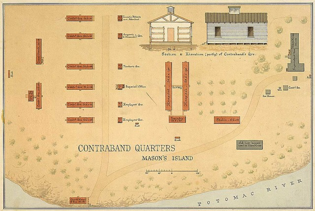 Contraband Quarters, Mason's [Roosevelt] Island, Washington, D.C. [Ground plan; view and cross section of one of the buildings.]