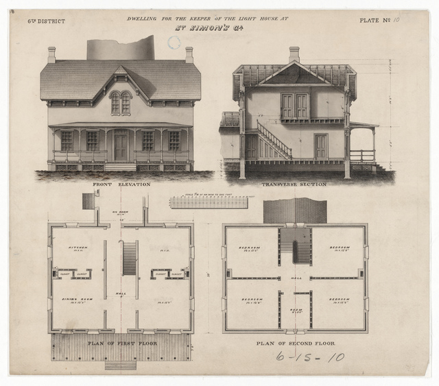 Section, Elevation and Plan Drawing for the Lighthouse Dwelling at Saint Simon's, Georgia