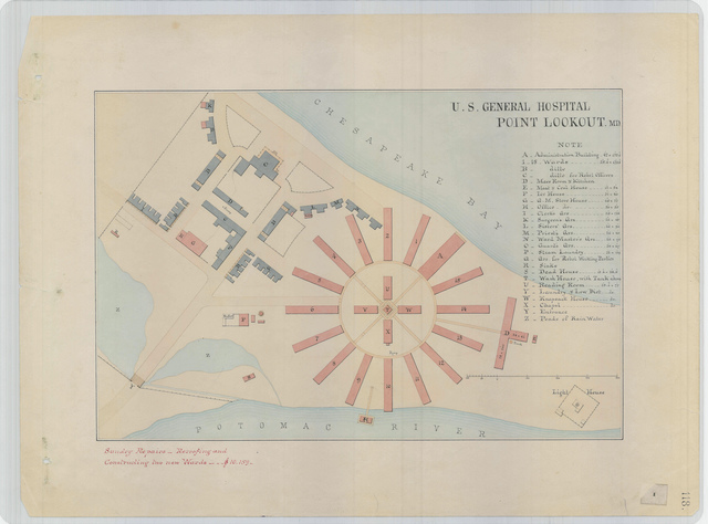 Site Plan for the U.S. General Hospital at Point Lookout, Maryland