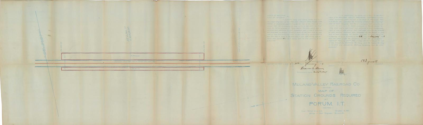 Midland Valley Railroad Co. Map of Station Grounds Required at Porum ...