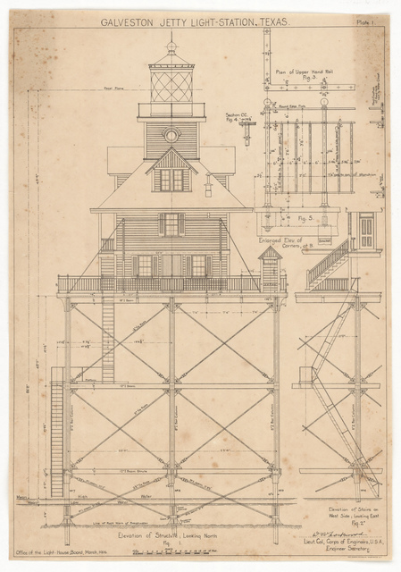 North Elevation Drawing for the Lighthouse at Galveston Jetty, Texas