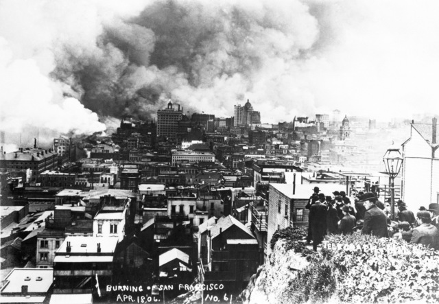 A crowd gathers at Telegraph Hill to watch the burning of San Francisco. The view is looking south. On April 18, 1906 at 5:15 AM a quake of 8.25 on the Richter scale hit San Francisco. Greater destruction came from the fires afterwards. The city burned for three days. The combination destroyed 490 city blocks and 25,000 buildings, leaving 250,000 homeless and killing between 450 and 700. Estimated damages, over $350 million