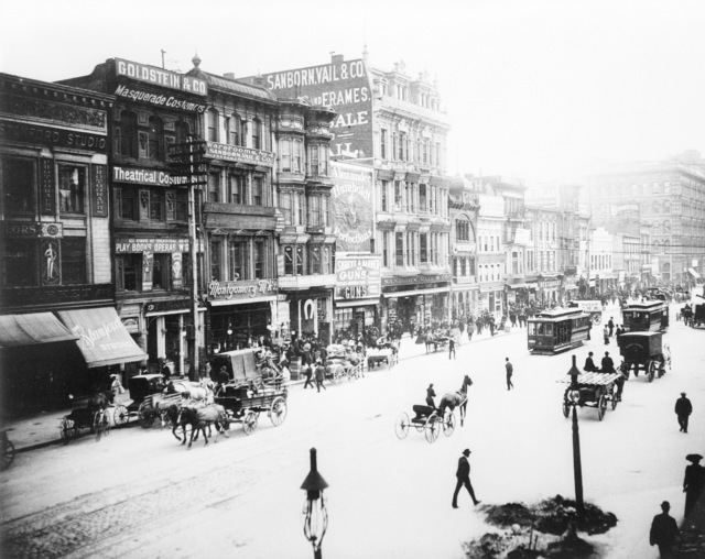 A view of busy Market Street looking southward. This shot may be taken just before the earthquake hit. There is no date on the photo. On April 18, 1906 at 5:15 AM a quake of 8.25 on the Richter scale hit San Francisco. Greater destruction came from the fires afterwards. The city burned for three days. The combination destroyed 490 city blocks and 25,000 buildings, leaving 250,000 homeless and killing between 450 and 700. Estimated damages, over $350 million