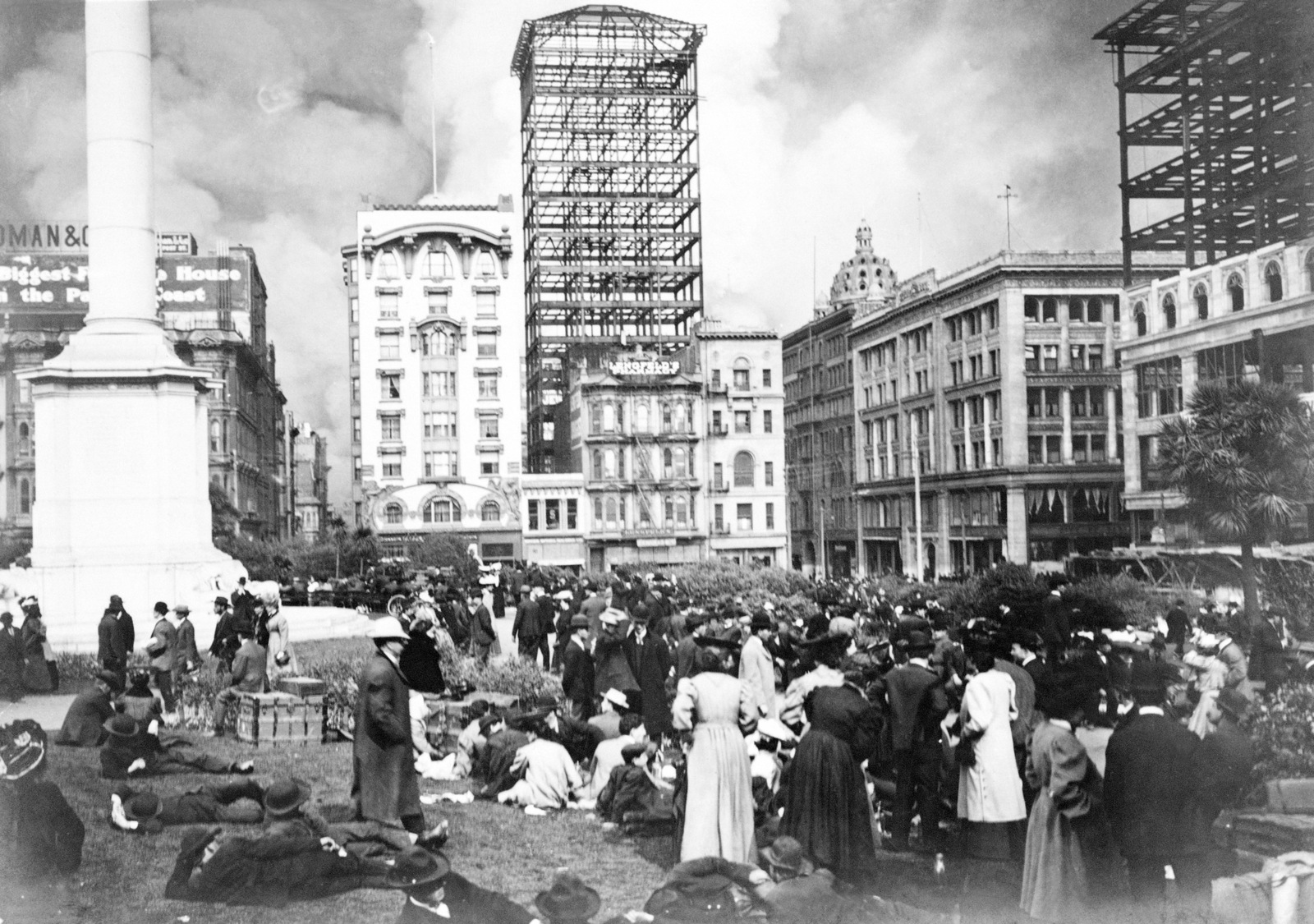 As fires rage in the background, the newly of San Francisco gather at Union Square. The tall steel skeleton, then known as the Union League Building, was under construction at the time of the earthquake, later finished, and still standing on Geary Street. The Butler Building at right, also under construction at the time. Its walls peeled away during the earthquake and killed several people in buildings adjoining the structure. On April 18, 1906 at 5:15 AM a quake of 8.25 on the Richter scale hit San Francisco. Greater destruction came from the fires afterwards. The city burned for three days. The combination destroyed 490 city blocks and 25,000 buildings, leaving 250,000...
