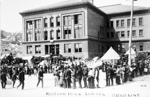Breadlines form up at Mission High School in the aftermath of the quake. On April 18, 1906 at 5:15 AM a quake of 8.25 on the Richter scale hit San Francisco. Greater destruction came from the fires afterwards. The city burned for three days. The combination destroyed 490 city blocks and 25,000 buildings, leaving 250,000 homeless and killing between 450 and 700. Estimated damages, over $350 million