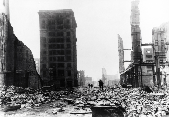 Looking down Fourth Street just off Market Street, soldiers patrol the devastated area. An unidentified building is still standing. On April 18, 1906 at 5:15 AM a quake of 8.25 on the Richter scale hit San Francisco. Greater destruction came from the fires afterwards. The city burned for three days. The combination destroyed 490 city blocks and 25,000 buildings, leaving 250,000 homeless and killing between 450 and 700. Estimated damages, over $350 million