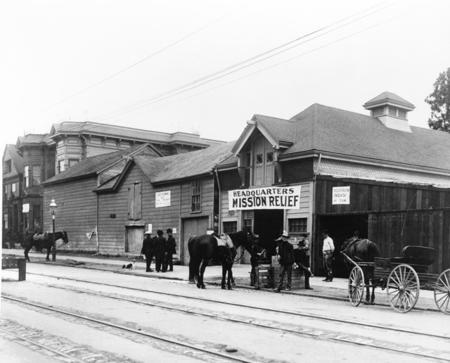 Mission Relief Headquarters. The barn of James Rolph Jr. on Guerrero Street was converted into the headquarters for Mission relief. Later, Rolph became Mayor of San Francisco and then governor. On April 18, 1906 at 5:15 AM a quake of 8.25 on the Richter scale hit San Francisco. Greater destruction came from the fires afterwards. The city burned for three days. The combination destroyed 490 city blocks and 25,000 buildings, leaving 250,000 homeless and killing between 450 and 700. Estimated damages, over $350 million