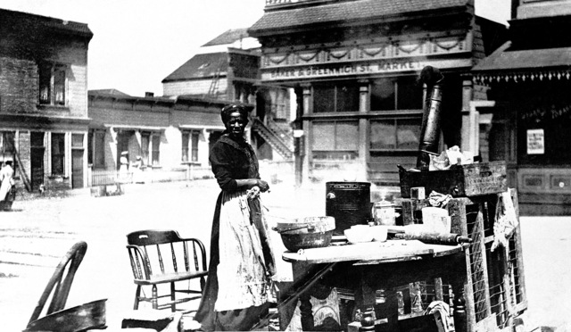 One of the many Street Kitchens that sprang up in the aftermath of the quake. This one is in front of the Baker & Greenwich Street Market, near the Presidio. On April 18, 1906 at 5:15 AM a quake of 8.25 on the Richter scale hit San Francisco. Greater destruction came from the fires afterwards. The city burned for three days. The combination destroyed 490 city blocks and 25,000 buildings, leaving 250,000 homeless and killing between 450 and 700. Estimated damages, over $350 million