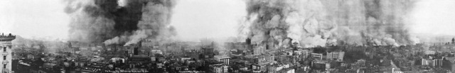 "Panoramic View of San Francisco in Flames Other Effects of the Disaster  ""This panoramic view shows San Francisco in flames, five hours after the earthquake. The photograph taken from Mason Street at 10:00 A.M., April 18, 1906. There is little evidence of earthquake damage. Most of the city's downtown buildings appear to be intact, yet flames later partially or wholly destroyed these buildings. The fire continued unchecked for three days"