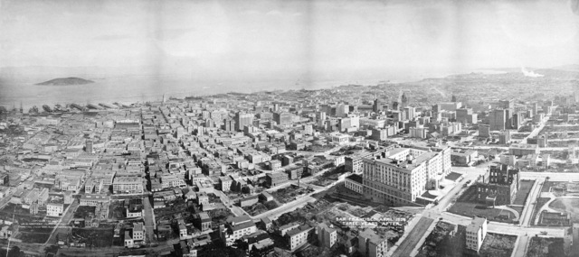 Panoramic View of San Francisco on April 1909 three years after the massive 8.25 earthquake of 1906. The view from 1000 feet above Jones and Washington Street, looking eastward. Goat Island (now Yerba Buena Island) in the San Francisco Bay, is in the upper far left. Mason Street cuts across right corner. On April 18, 1906 at 5:15 AM a quake of 8.25 on the Richter scale hit San Francisco. Greater destruction came from the fires afterwards. The city burned for three days. The combination destroyed 490 city blocks and 25,000 buildings, leaving 250,000 homeless and killing between 450 and 700. Estimated damages, over $350 million