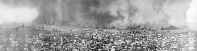 The burning of San Francisco. Reproduced from the only photograph that shows the entire scope and extent of this awful conflagration the worst in the history of the world. Fire line over three miles long, property loss three hundred million dollars. On April 18, 1906 at 5:15 AM a quake of 8.25 on the Richter scale hit San Francisco. Greater destruction came from the fires afterwards. The city burned for three days. The combination destroyed 490 city blocks and 25,000 buildings, leaving 250,000 homeless and killing between 450 and 700. Estimated damages, over $350 million