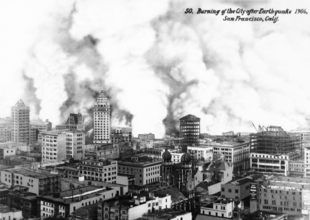 The city of San Francisco on fire after the earthquake. On April 18, 1906 at 5:15 AM a quake of 8.25 on the Richter scale hit San Francisco. Greater destruction came from the fires afterwards. The city burned for three days. The combination destroyed 490 city blocks and 25,000 buildings, leaving 250,000 homeless and killing between 450 and 700. Estimated damages, over $350 million