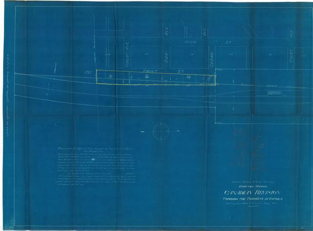 Missouri, Kansas & Texas Railway, Choctaw Division, Canadian Revision Through the Townsite of Eufaula