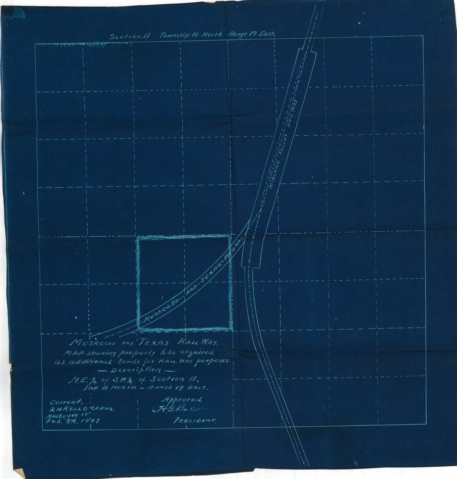 Muskogee and Texas Railway, Map Showing Property to be Acquired as Additional Lands for Railway Purposes, Description N.E. 1/4 of S.W. 1/4 of S.W. 1/4 of Section 11. Twp. 10 North, Range 19 East