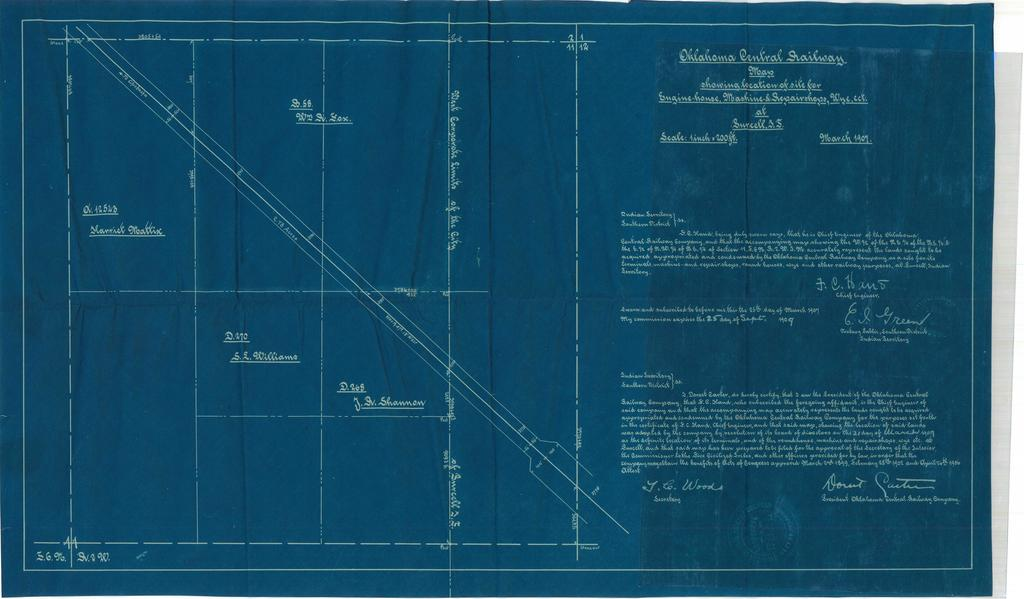 Oklahoma Central Railway, Map Showing Location of Site for Engine-House, Machine & Repair Shops, Wye. Ect. At Surcell, I.T.