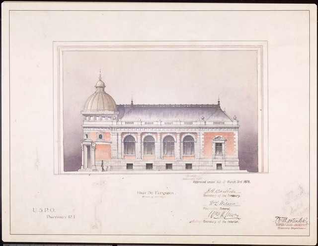 Elevation of the Post Office at Pawtucket, Rhode Island
