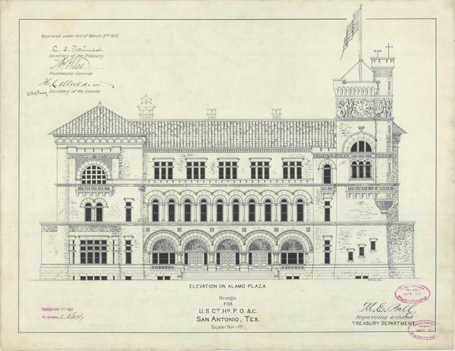 Presentation Drawing of San Antonio, TX Courthouse and Post Office