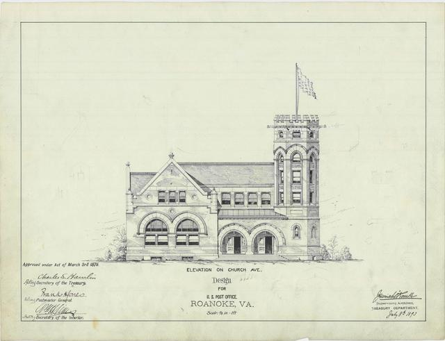 Presentation Drawing of the Roanoke VA Post Office