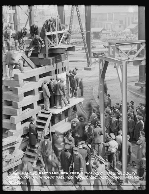 Laying Keel of U.S.S. Battleship Number 39, Nailing of the Horseshoe